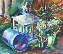 """Натюрморт """"Фонарь и цветы"""", 2015"""