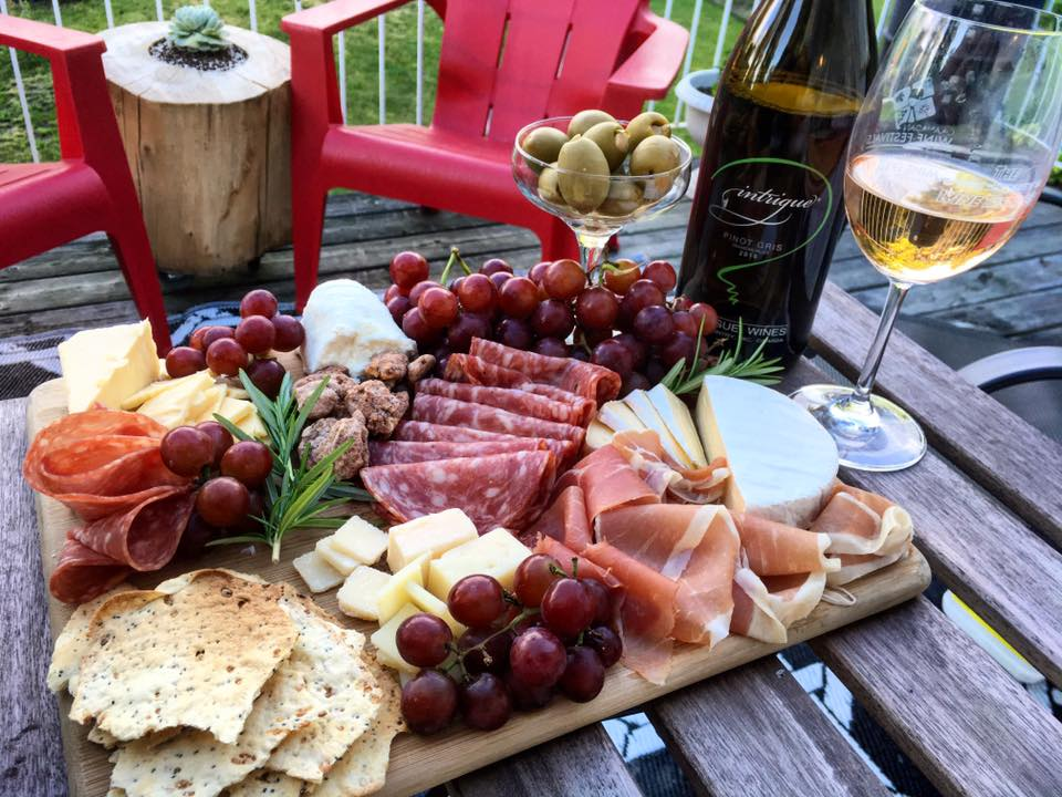 Charcuterie on the patio.