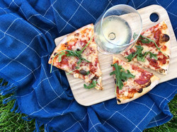 Pizza and wine in the summertime.