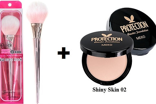 MEKO Silk Oil Control Protective Powder + MEKO Korean powder brush (rose gold)