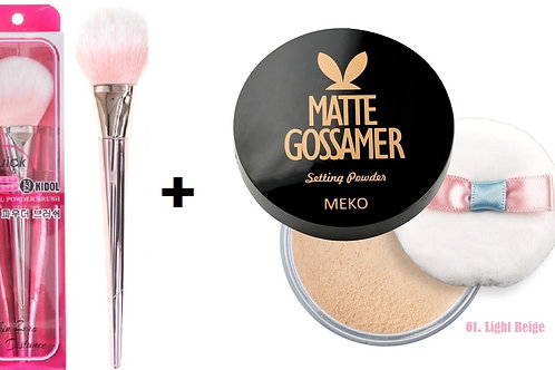 MEKO Matt Gossamer setting powder + MEKO Korean powder brush (rose gold)