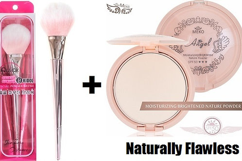 MEKO Natural skin moisture pressed powder + MEKO Korean powder brush (rose gold)