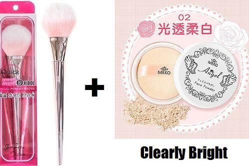 MEKO Pinky angel loose powder + MEKO Korean powder brush (rose gold)