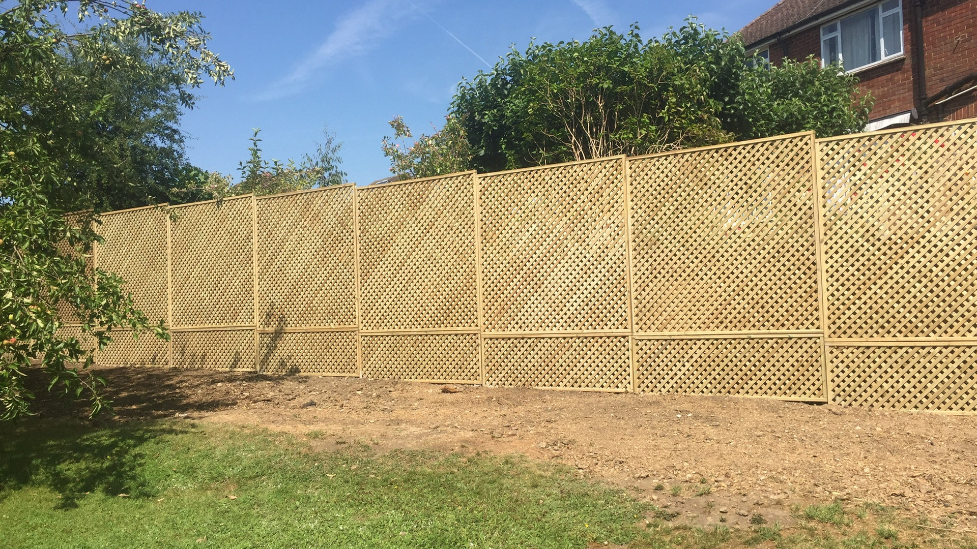 Installation of privacy trellis in West Sussex
