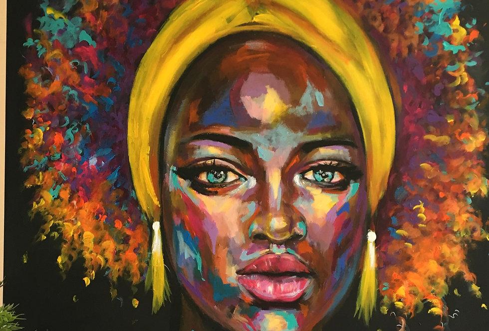 אישה עם מטפחת צהובה