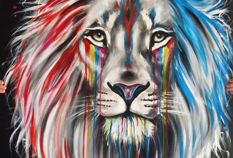 אריה כחול אדום