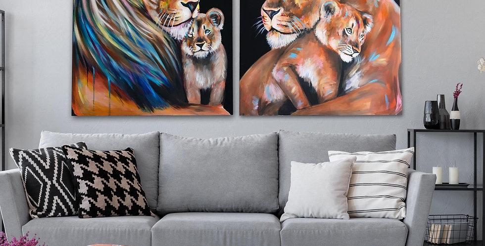 אריה ולביאה עם גור