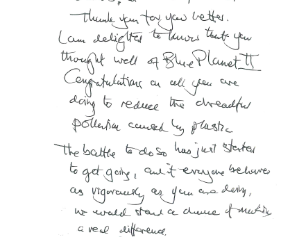 Letter from Sir David Attenborough