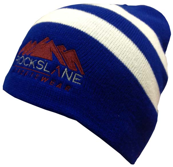 rockslane beanie embroidered blue white stripe