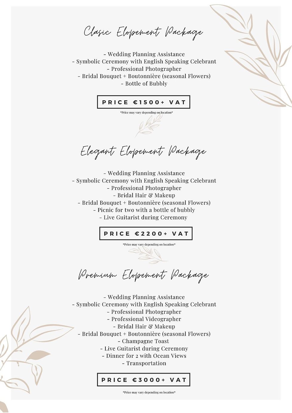 Elopement Packages & Prices Portugal