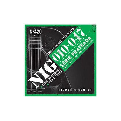 Encordoamento p/Violão Aço 010-047 Nig Série Prateada N420