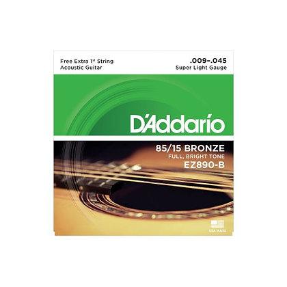 Encordoamento p/Violão Aço 009 D'Addario Bronze EZ890-B