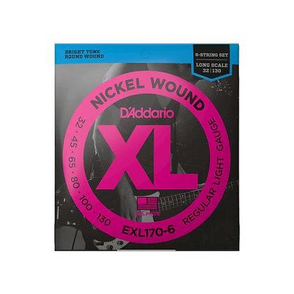 Encordoamento p/Contrabaixo 6C 32-130 D'Addario XL Níquel EXL170-6
