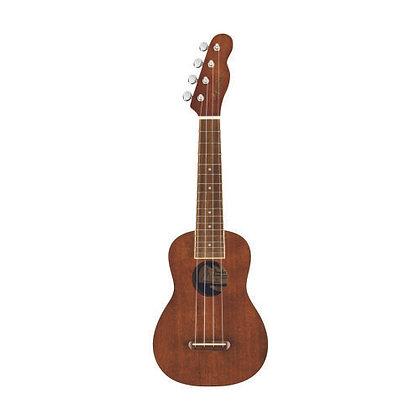 Ukulele Acústico Soprano Fender Seaside Natural + Bag + Afinador + Cordas