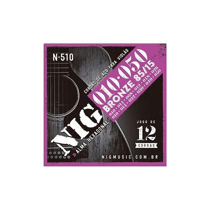 Encordoamento p/Violão 12C Aço 010-050 Nig Bronze N-510