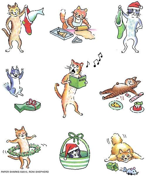 RS492  Christmas Kitties Aprons