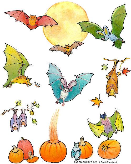 RA356 Bats & Pumpkins Apron
