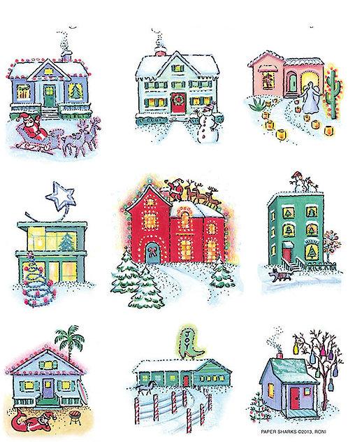 RS486  Christmas Homes Apron