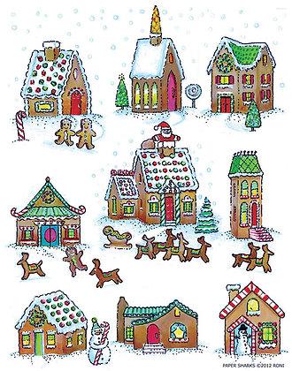 RS480  Gingerbread Village Apron