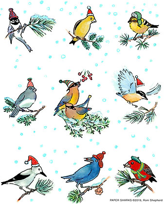 RS612 Christmas Birds & Hats