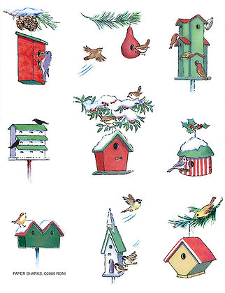 RS459  Winter Birdhouses Apron