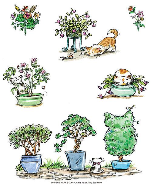 AJ515 Cats In The Garden