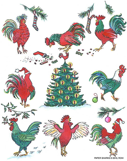 RS470  Xmas Roosters Apron