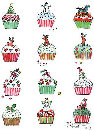 RS447  Xmas Cupcakes Apron