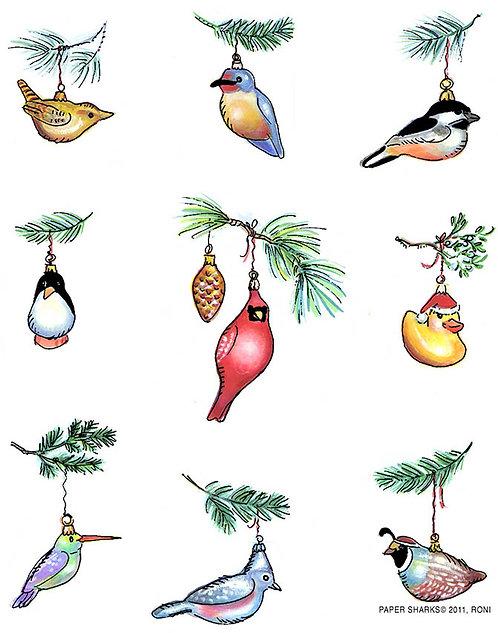 RS474  Bird Ornaments Apron