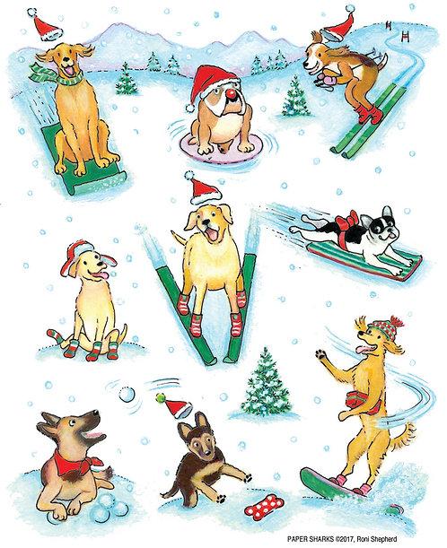 RS420 Christmas Snow Dogs Apron