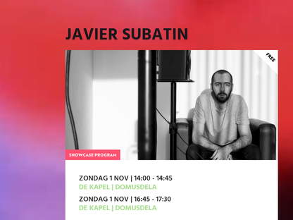 Javier Subatin selected to participate at the So What's Next Jazz Festival showcases (Netherlands)