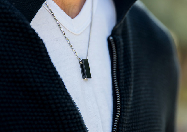 Pack Beresheet - Brushed black + silver chain-necklace (thick)
