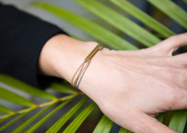 Pack Beresheet - Glazed L gold + gold chain-bracelet + taupe cord (boost)