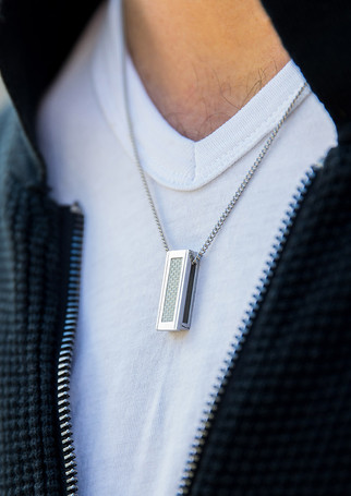 Pack Beresheet - Carbon silver + silver chain-necklace (thick)