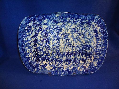 Blue and White Spongeware Stoneware Platter