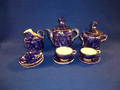 Late 19th Century Blue and White Spongeware Stoneware Child's Tea Set