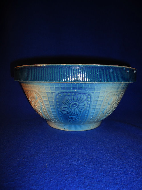 "Blue and White Stoneware 10"" Cosmos Flower Bowl"