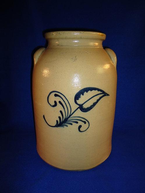 Charlestown, Massachusetts Stoneware 4 Gallon Churn with Flower