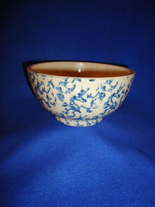 Circa 1900 Blue and White Spongeware Bowl, Patterned Sponging #5466