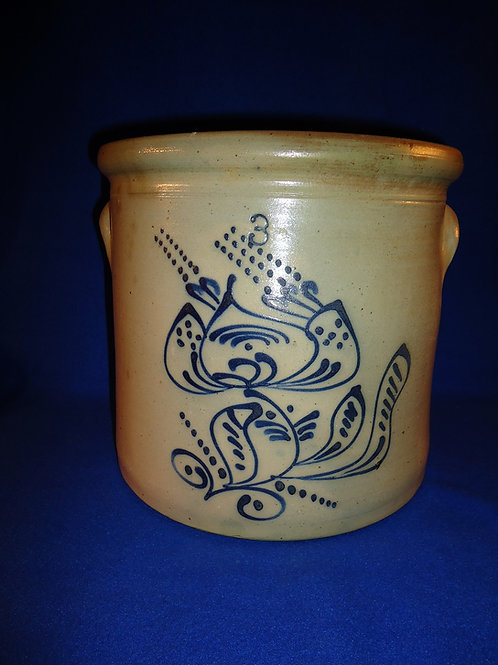 Circa 1870 3 Gallon Stoneaware Crock with Folk Art Floral