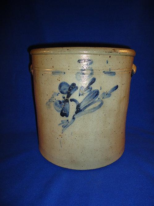 Circa 1880 3 Gallon Stoneware Crock with Tulip from NE Ohio.