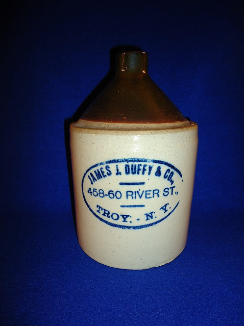 James J. Duffy, Troy, New York Stoneware 1/2 Gallon Jug with Cobalt Label