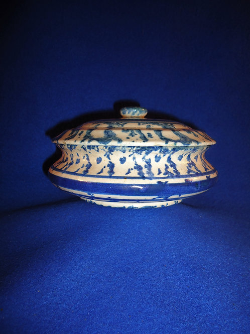 Blue and White Spongeware Stoneware Covered Soap Dish #4625