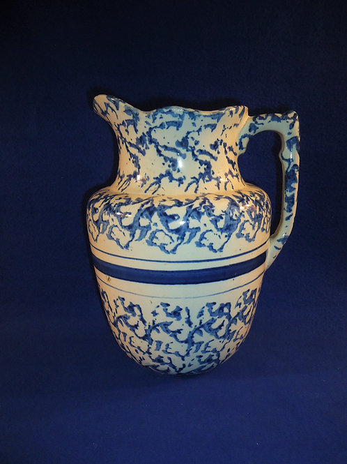 Gorgeous Blue and White Spongeware Stoneware Pitcher with Controlled Sponging