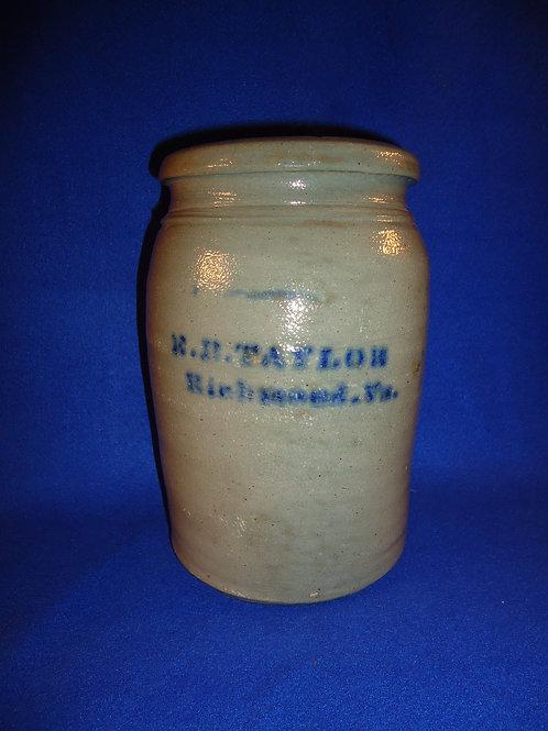 E. B. Taylor, Richmond, Virginia Stoneware 1g Jar by Donaghho of Parkersburg, WV