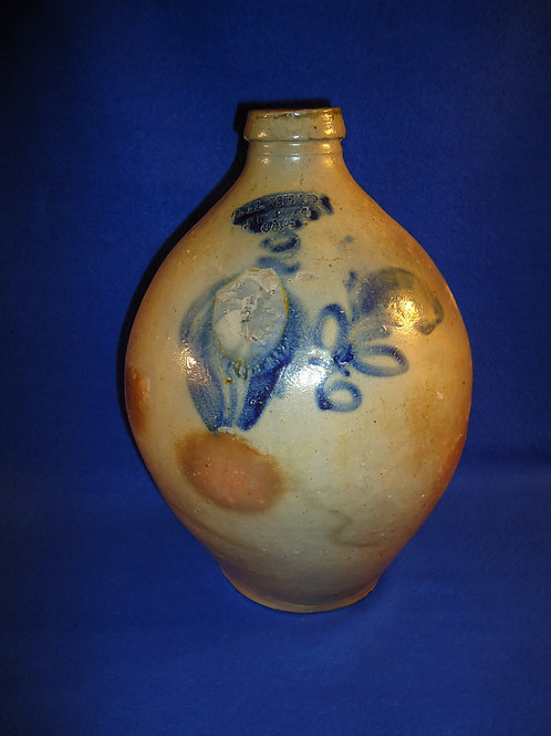 I. M. Mead, Mogadore, Ohio Stoneware 2 Gallon Ovoid Jug with Tulip #4540