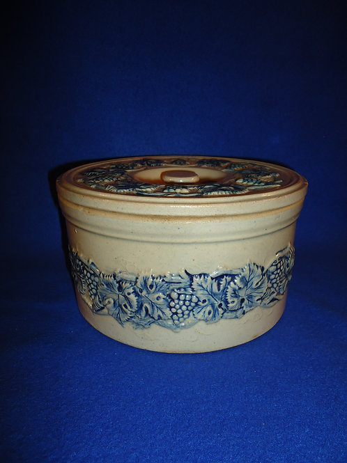 Blue and Gray Covered Cake Crock, Grape Vines, Robinson Clay, Akron, Ohio #5731