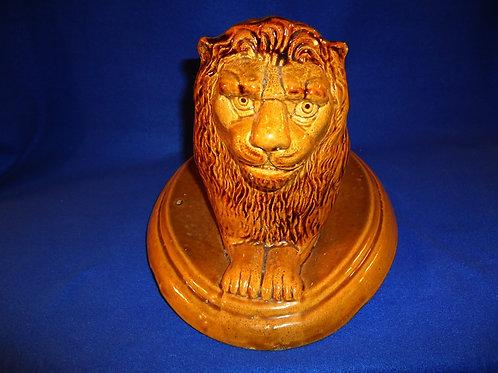Yellow Ware Mogadore Folk Art Recumbant Lion, Attributed to James Monroe