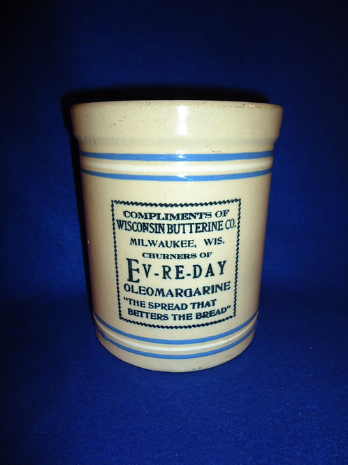Wisconsin Butterine Company Stoneware Butter Crock with Lid