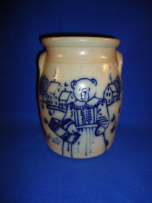 Beaumont Pottery, York, Maine Stoneware Jar with Teddy Bear #5128
